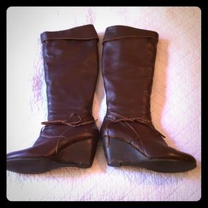 Anthropologie Tall Brown Leather Wedge Boots